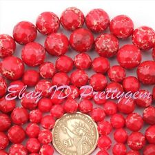 6,8,10,12,14mm Imperial Jasper Red Faceted Round Gemstone Beads Loose Strand 15""