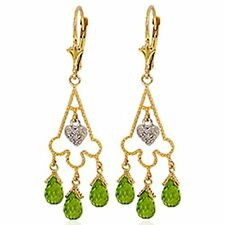 14k Solid Gold Chandelier Diamond Earrings with Natural Peridot