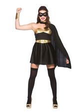 Black Gold Ladies Fancy Dress Comic Book Hot Super Hero Adult Womens Costume