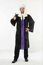 Fancy Dress Adults Judge Judges Robe Gown Court Barrister wig Gavel Hammer