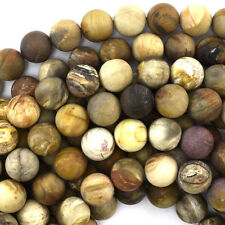 "Matte Petrified Wood Agate Round Beads Gemstone 15"" Strand 4mm 6mm 8mm 10mm"