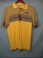 NWT Chaps Golf Yellow and Navy Blue Striped Men's Polo Shirt