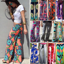 Womens Bohemia Casual Palazzo Yoga Trousers Hippie Loose Stretch Flare Pants New