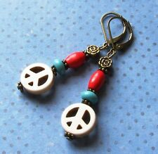 PEACE SIGN Howlite Roundel Wood Bronze Tone LEVERBACK Earrings COLOR OPTION