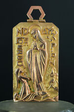 Modernist Large Religious Medal gilded bronze signed PY Our Lady of Lourdes