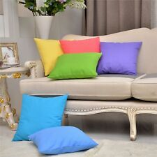 2PCS Cushion Covers Throw Pillowcases Cotton Linen Solid Candy Color 18X18''