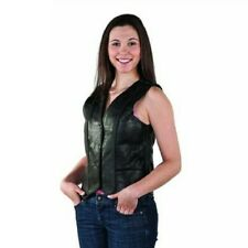 LADIES WOMENS BIKER MOTORCYCLE BRAIDED LEATHER VEST w / LACES ON BACK - DA51
