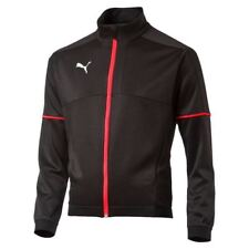 Puma EvoTRG Kids Football Sports Training Track Jacket Top Junior Black Red
