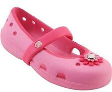 Girl's Toddler CROCS Pink Flower Mary Janes Slip On Casual Comfort Shoes NEW