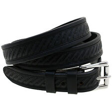 """Orion Leather 1 1/8"""" Embossed Black Bridle Leather Belt Hand Crafted Made In USA"""