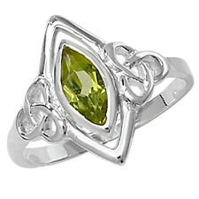 Sterling Silver Marquise Shaped Peridot Celtic Detail Ring G7303PE