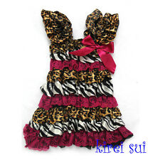 Brown Leopard Zebra Hot Pink Cap Sleeves Lace Ruffles Pettidress 6Mos-5Y