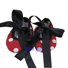 Baby Girls Black Ribbon Bow Red White Polka Dots Minnie Mouse Crib Shoes NB-18M