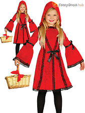 Girls Little Red Riding Hood Costume Kids Fairytale Fancy Dress Book Week Outfit