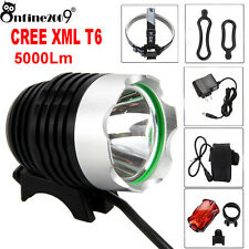Rechargeable 5000Lm CREE XML T6 LED Bicycle Lamp Bike Headlight+ Rear Light free
