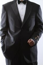 MENS TWO BUTTON SUPER 140S WOOL BLACK TUXEDOS FLAT FRONT, SML-T40412N-BLK