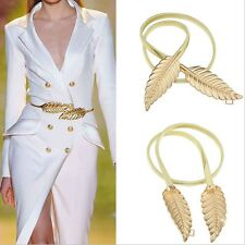 New Fashionable Women Metal Leaves Elastic Waist Dress Belt Strap Waistband Prom