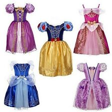Age 2-10years Princess Girls Cinderella Dress Kids Clothing Snow  Rapunzel Auror