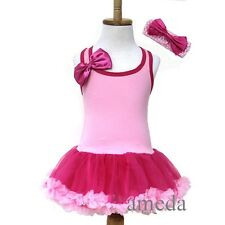 Baby Girls Light Hot Pink Tutu Pettiskirt Birthday Princess Party Dress 1-4Y