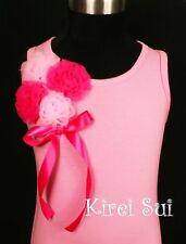 Light Hot Pink Bunch Rosettes Pettitop Tank Top Bow for Pettiskirt 1-10Y ZN65
