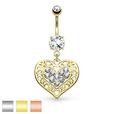 Tribal Heart Filigree Edged Crystal Paved Surgical Steel Belly Bar / Navel Ring