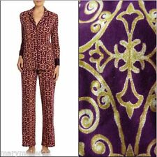 NWT $78 N NATORI PAJAMAS SMALL 2pc PJs PURPLE & GOLD KNIT w SATIN TRIP