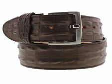 Mens Crocodile Alligator Leather Brown Silver Buckle Western Boots