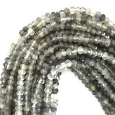 "Faceted Gray Quartz Rondelle Beads Gemstone 15"" Strand 6mm 8mm 10mm"