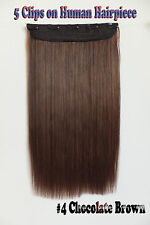 120g 16''~26'' 5Clips One Hairpieces Clip In Real Human Hair Extensions #4 Brown