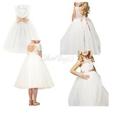 White Flower Girl Dress Party Pageant Princess Wedding Bridesmaid Formal Dresses