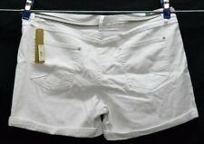 NEW LC Lauren Conrad White Roll Cuff Belted Stretch Shorts NWT