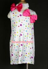 White Rainbow Polka Dots Girl Tutu Party Dress Skirt With Hot Pink Bow 2PC 2-6Y