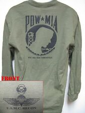 USMC RECON LONG SLEEVE T-SHIRT/ POW MIA/ MILITARY/ VETERAN/    NEW