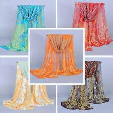 Fashion Womens Ladies Thin Printed Peacock Soft Chiffon Scarf Wrap Shawl Cape