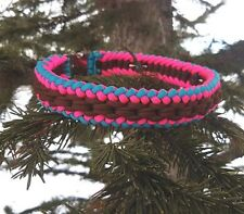 Paracord Dog/Puppy Collar Sanctified Weave - Turquoise/Brown/Neon Pink