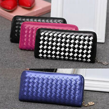 Fashion Women Lady Leather Clutch Weave Wallet Long Card Holder Purse Handbag