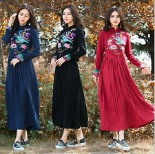 National wind women long sleeve embroidery cultivate one's morality dress