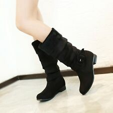 Plum size Womens  Ladies Suede Round Toe Boots Pull On Warm Boots Winter  Shoes
