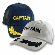Captain Baseball Cap Ball Hat Navy Blue White Nautical Hat Sailing Mens Military