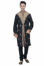 Indian Designer Black Kurta Sherwani for Men 2pc Suit - Worldwide Postage