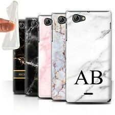 Personalised Marble Gel/TPU Case for Sony Xperia J (ST26i)/Name/Initial Cover