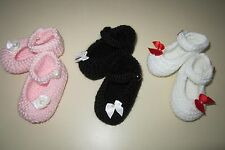 NEW! HandKnit Baby Booties with bows Preemie, 0-3, 3-6, or 6-9 months