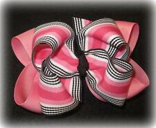 Boutique Hair Bow Pink Black Girl Big Double Layer Hairbow Pageant Party Stripes