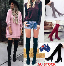 Womens Suede Over The Knee On Boots Shoes Block High Heels  Fashion Lady Boots
