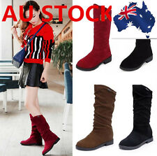 Women Lady Casual Comfort Suede Mid Calf Knee High Flat Heel Boot Shoes AU size