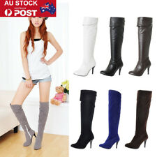 Women Lady Over Knee On Stretch Thigh High Heel Shoes Zipper Winter Boots