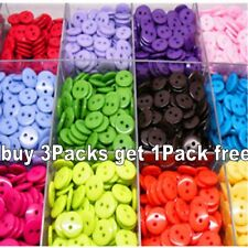200PCs Candy Color Scrapbooking Embellishment Resin Sewing 2 Holes Buttons 15mm