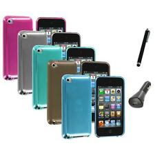 TPU Plain Rubber Jelly Skin Case Cover+Charger+Pen for iPod Touch 4th Gen 4G 4