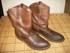 Mens Red Wing Pecos Brown Pull On Roper Boots Shoes 9.5 EE USA Leather