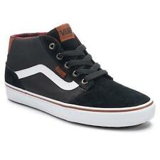 Men's VANS CHAPMAN MID Black Leather Athletic/Casual Sneakers Skate Shoes NEW